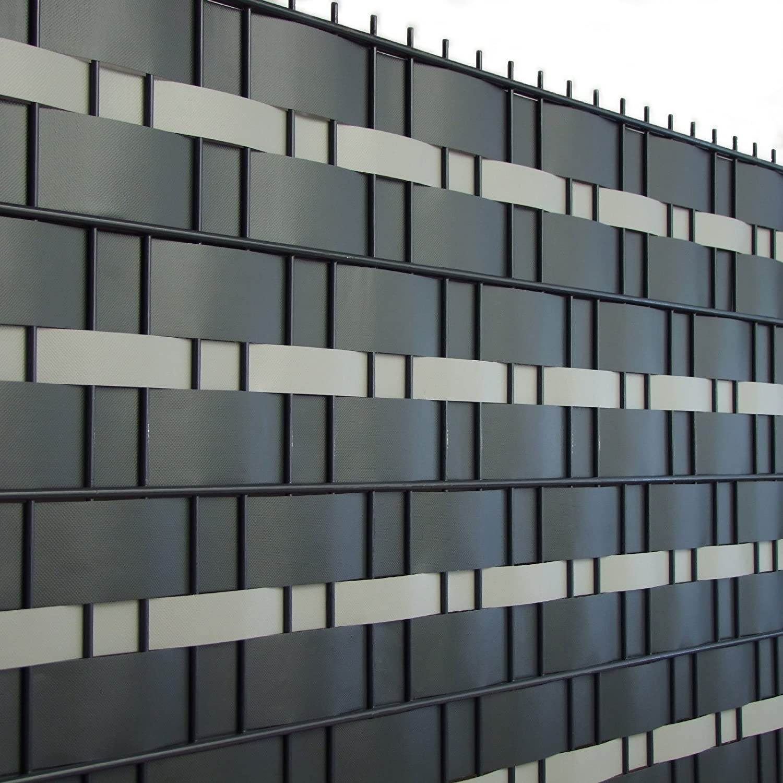 Sichtschutzstreifen Set PVC 2 Rollen 65m x 7 5cm anthrazit✓ 1