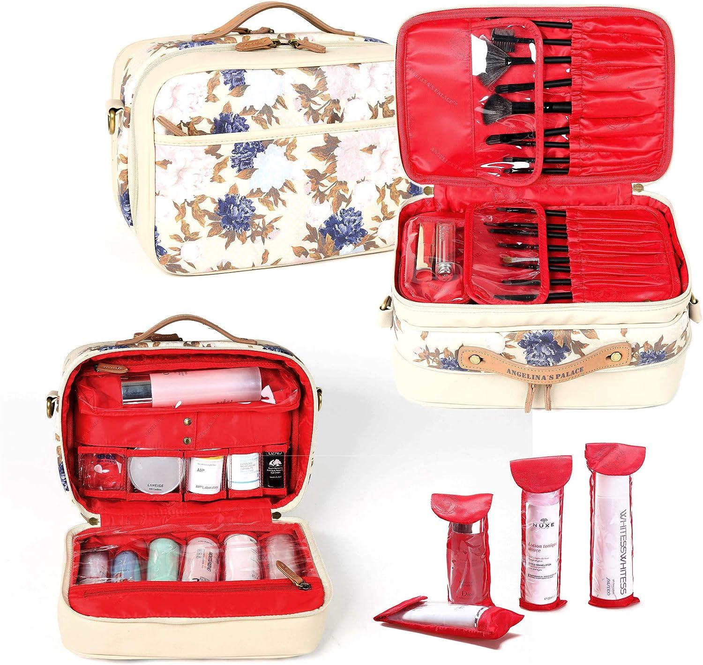 Angelina's Palace Kolin Women's Professional Travel Make up Bag Organizer Big Capacity Cosmetic Case Brushes Storage Artist Organizer (Vintage Bloom)