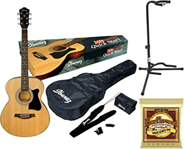 Ibanez IJVC50 JamPack 6-String Acoustic Guitar Pack Bundle with Gig Bag, Tuner, Stand, Strap, Pics and Extra Strings (3 Items)