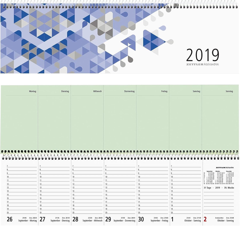 Zettler 136-0015 Tischkalender quer blau 1W//2S