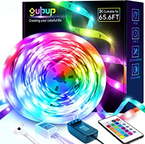 LED Strip Lights 65.6ft, GUPUP LED Lights for Bedroom Ultra Long RGB Color Changing Light Strips with Remote SMD 5050 12V Room Lights for Home, Party, Kitchen, Decor (2 Rolls)