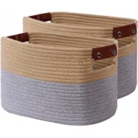 """CLUBASKET 2-Pack Woven Cotton Rope Storage Basket For Shelves 12.6""""x8.2""""x8.2""""Decorative Storage Bins For Toy Woven…"""