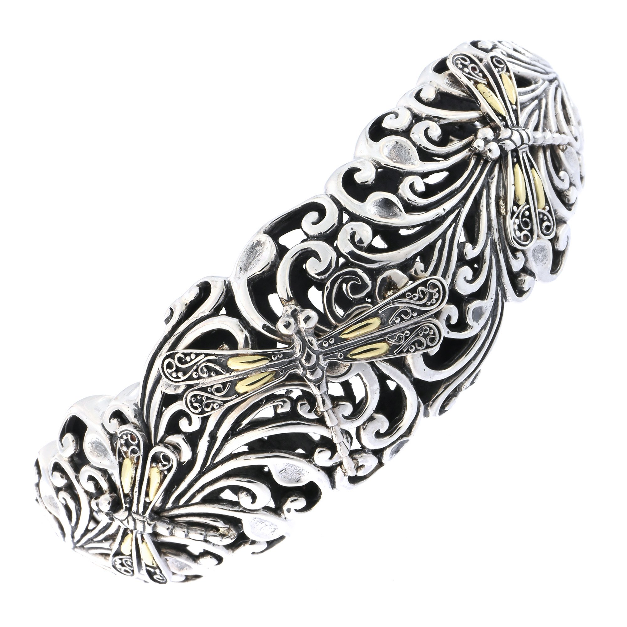 Phillip Gavriel 18k Yellow Gold and Sterling Silver Dragonfly Filigree Cuff Bracelet
