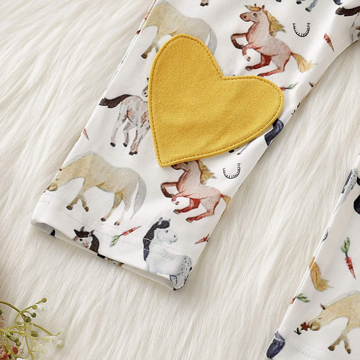 Baby Boy Girl Horse Print Long Sleeve T-Shirt Lovely Heart Cute Animal Pants Outfit Set Fall Winter Clothes