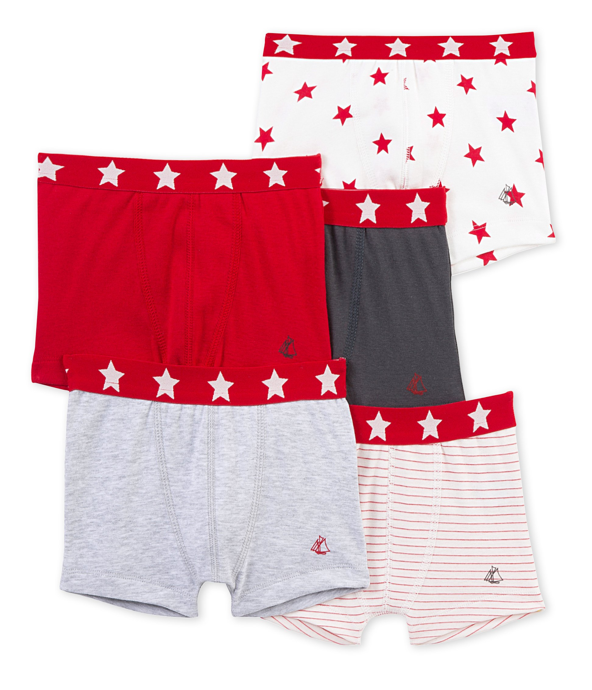 Petit Bateau Boys' 5 Pack Printed and Solid Boxers with Star Waistband, Multi-Colored, 3 Years