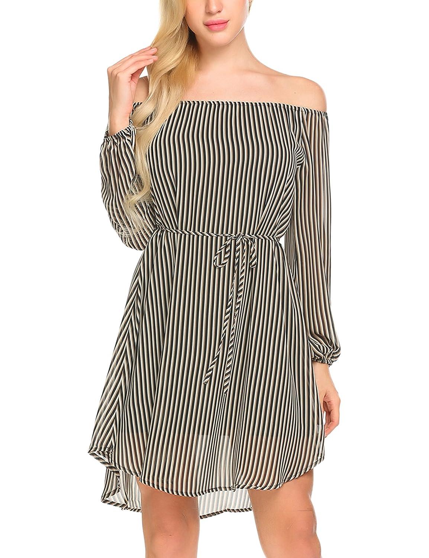 Black Jeere Women's Long Sleeve Off The Shoulder Striped Causal Loose TShirt Dress