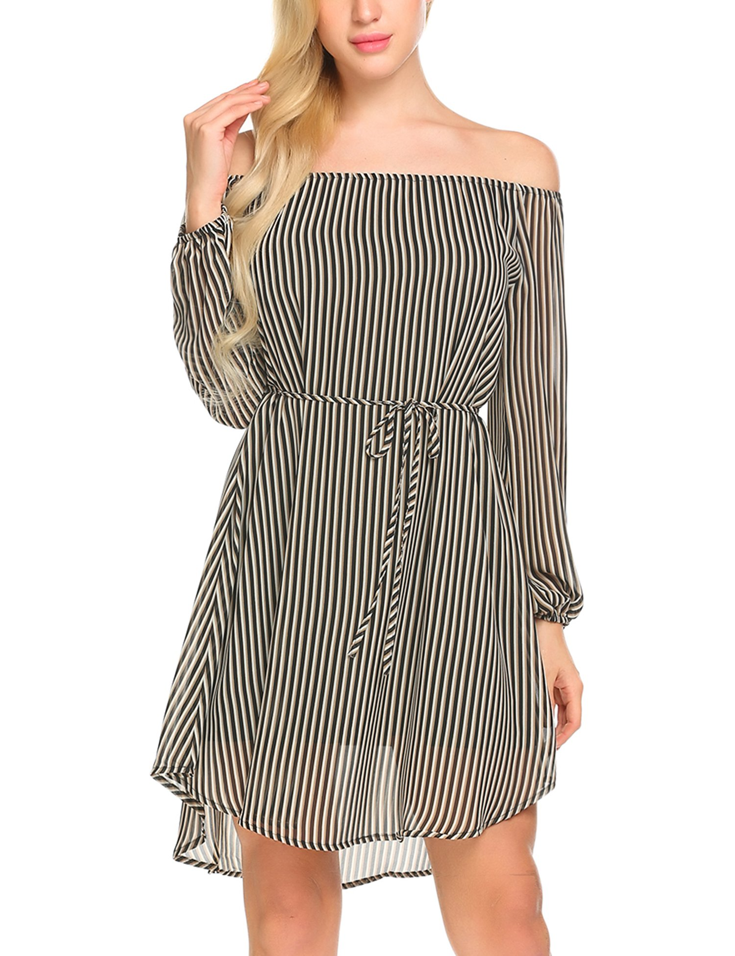 Jeere Women's Long Sleeve Off The Shoulder Striped Causal Loose T-Shirt Dress Black L