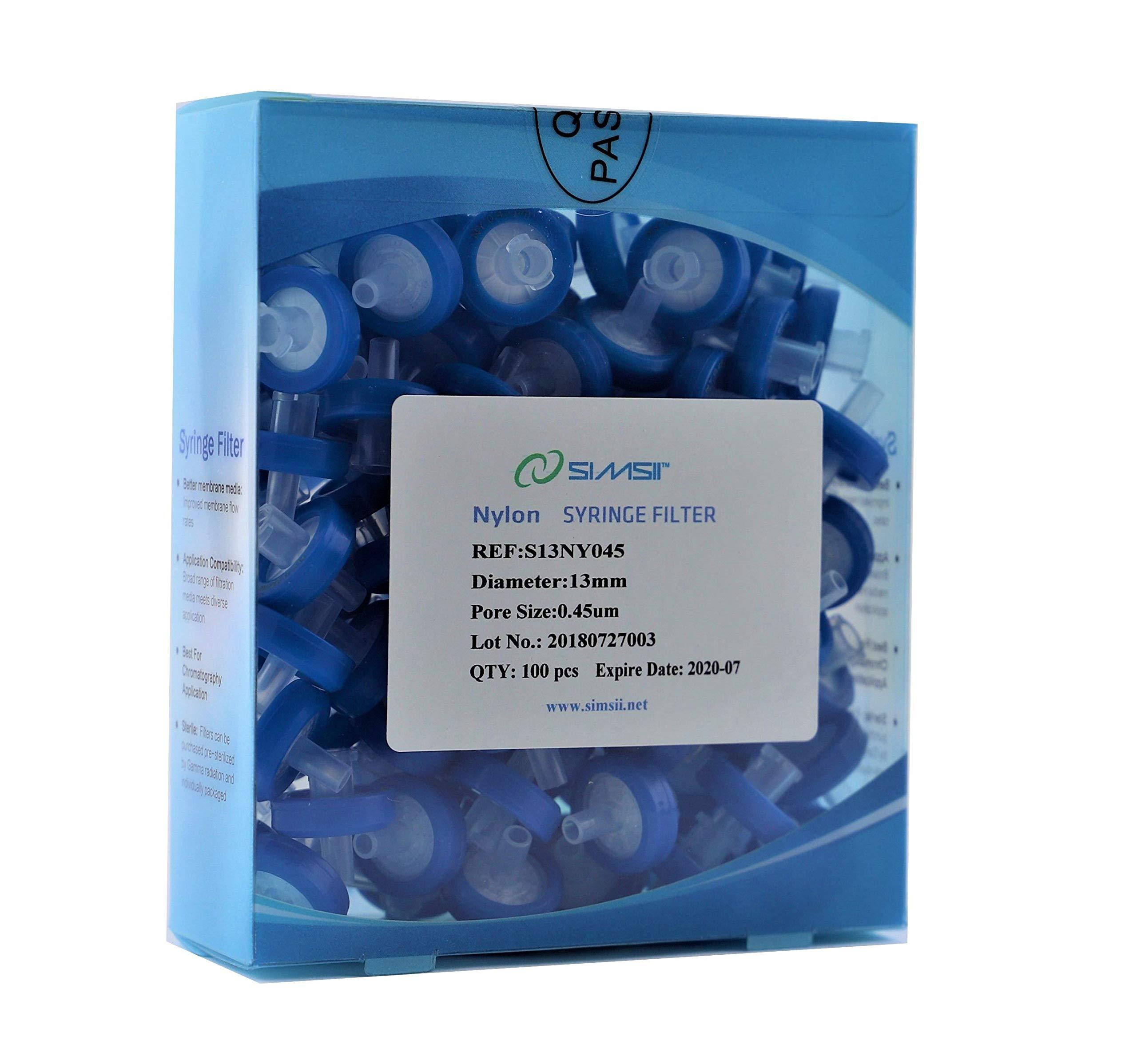 Simsii Syringe Filter, Nylon, Diameter 13 mm, Pore Size 0.45 um, Pack of 100 by Simsii