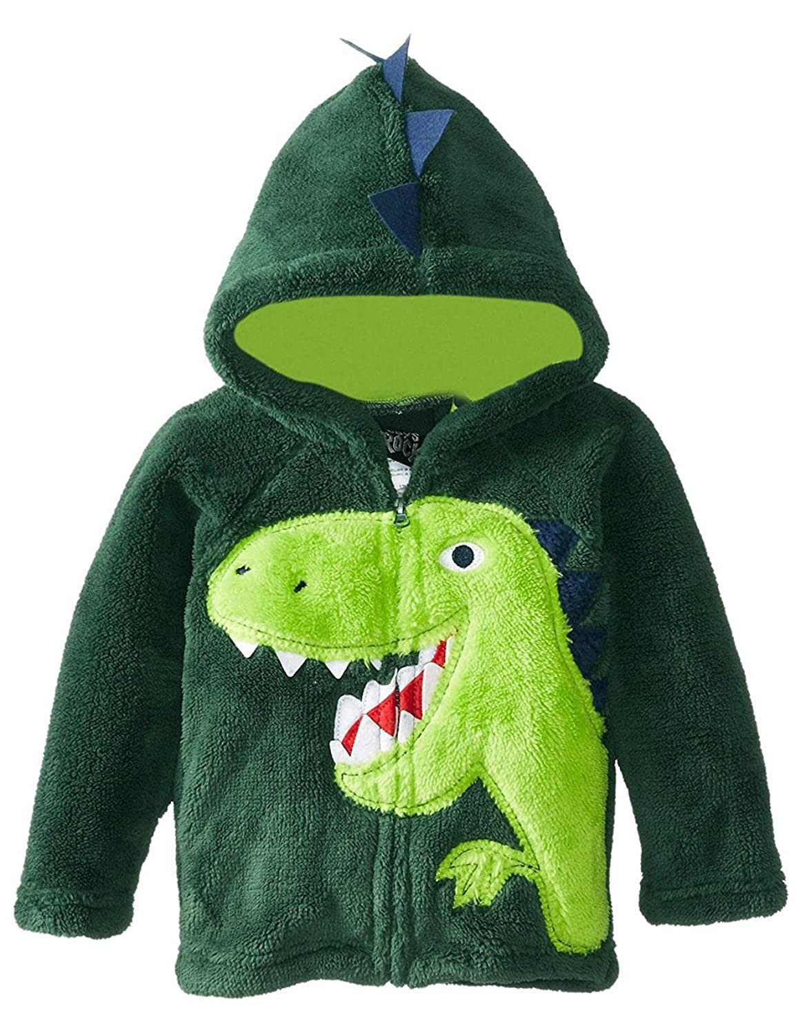 FANTASIEN Little Boys Winter Coral Fleece Dinosaur Zipper Hoodies Jacket Outerwear Windbreaker Coat for 1-6T Boy