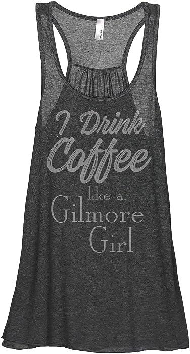 b9626af01da83 Thread Tank Drink Coffee Gilmore Girls Women s Sleeveless Flowy Racerback  Tank Top Charcoal Grey Small