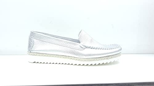 Andrea DeMarco Mocasines de Piel Para Mujer Plateado Size: 36 EU: Amazon.es: Zapatos y complementos