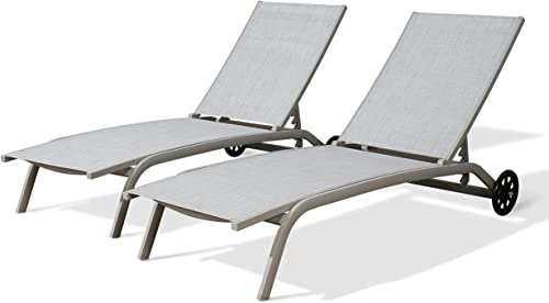 Iwicker Patio Chaise Lounge Chairs Textilene Sling Fabric Reclining Lounge Chair