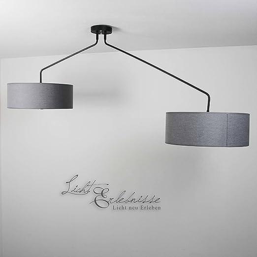 XXL Deckenleuchte Wohnzimmer/grau / 2-flammig/Deckenlampe mit ...