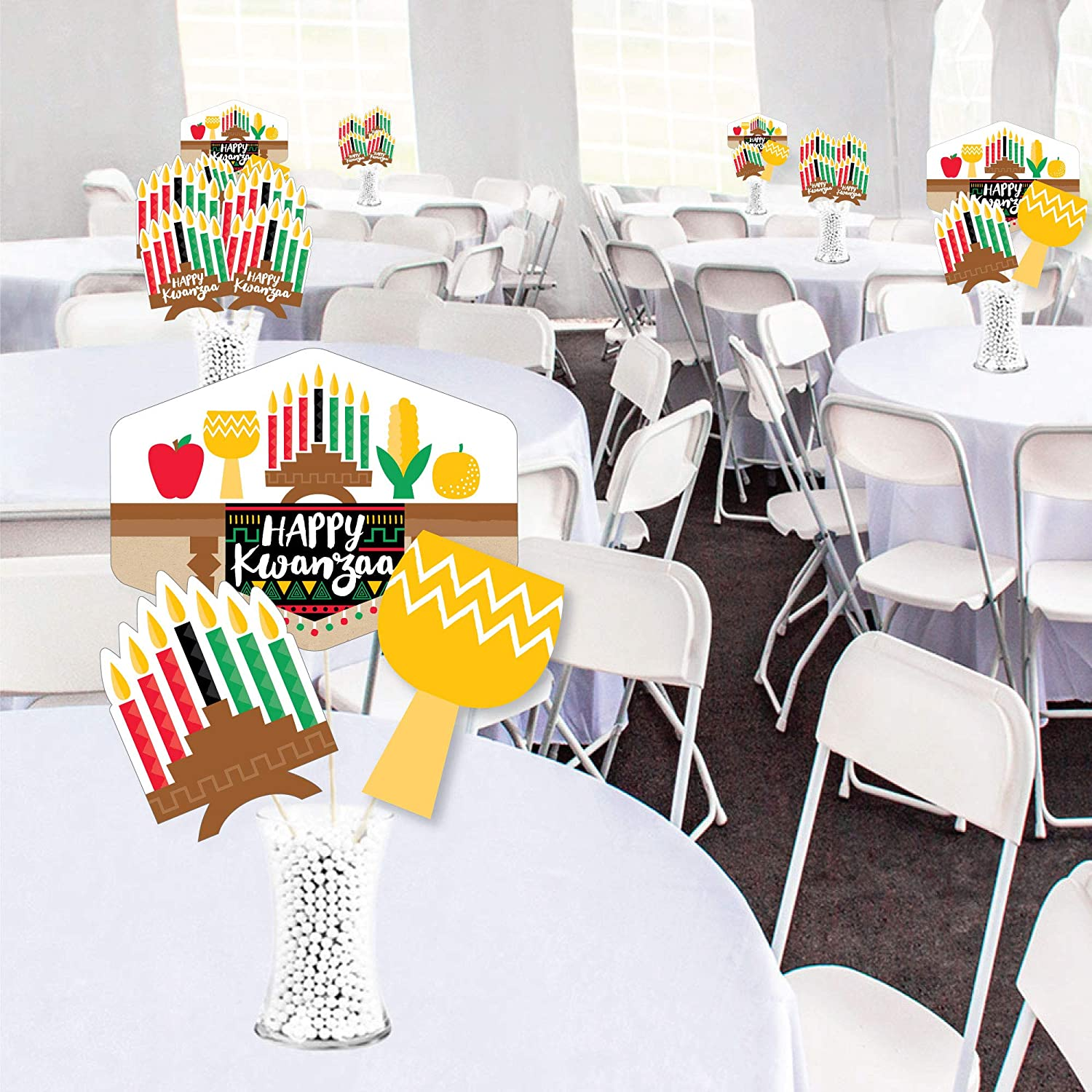 35 Pieces Showstopper Table Toppers Big Dot of Happiness Happy Kwanzaa African Heritage Holiday Centerpiece Sticks