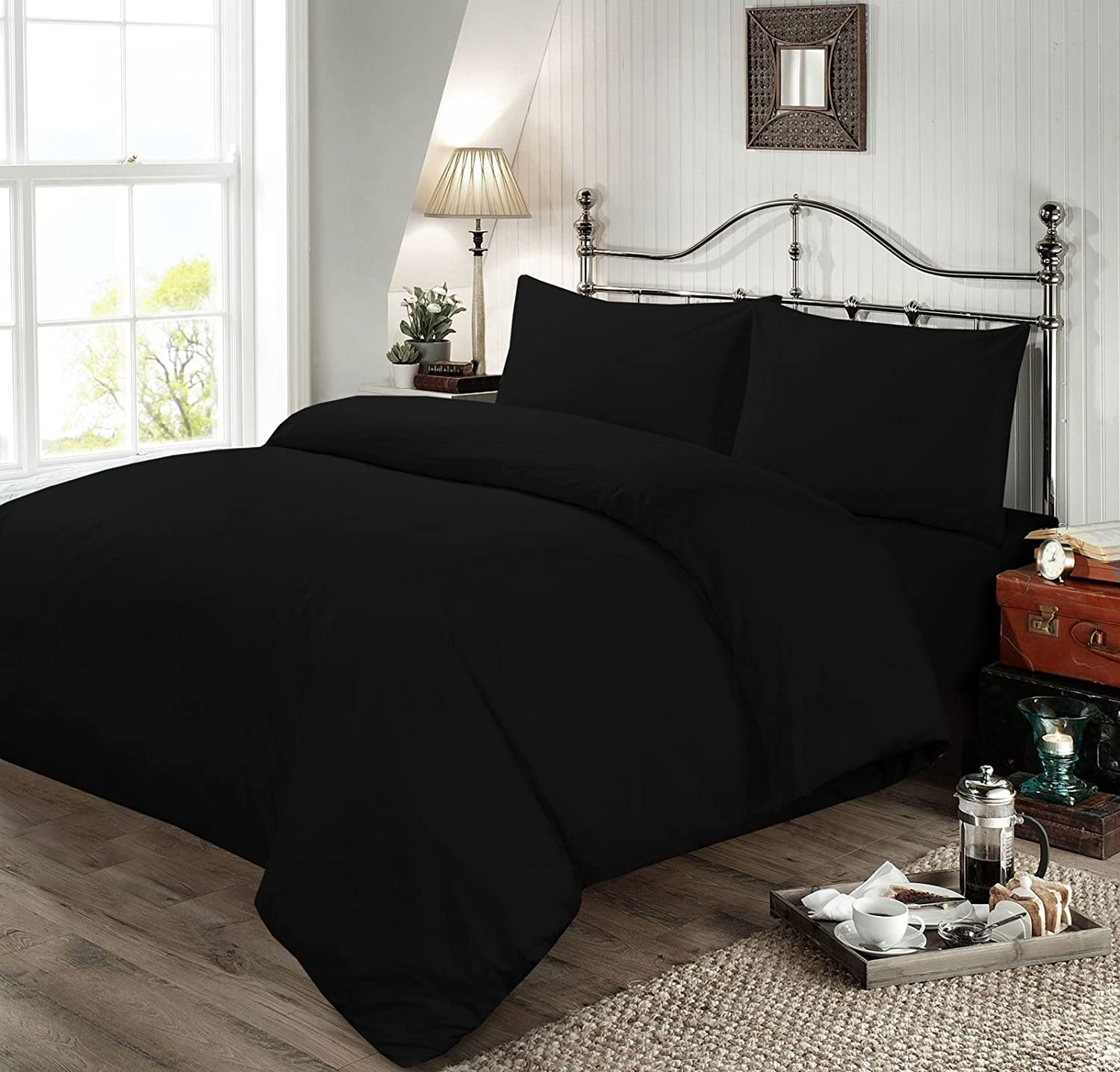 Sunshine Linens Luxury Plain Dyed Duvet set Quilt Duvets Cover Bedding Set Bed Sheets (Black Duvet Cover, Double bed duvet set)