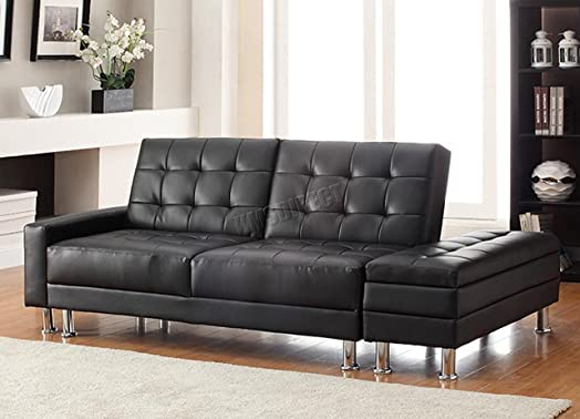 FoxHunter Modern Luxury Design PU Sofa Bed With Storage 3 Seater
