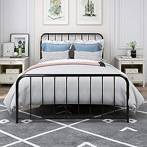 Metal Bed Frame Steel Platform Bed No Box Spring Needed (Full, Black)