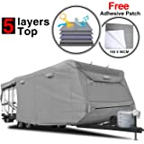 """KAKIT Heavy Duty 5 Layers Travel Trailer RV Cover, Fits 26'1"""" - 28'6"""" RVs - Breathable Waterproof Anti-UV Ripstop Camper Cover With 15 PCS Windproof Buckles & Adhesive Repair Patch (25.4""""&59"""")"""