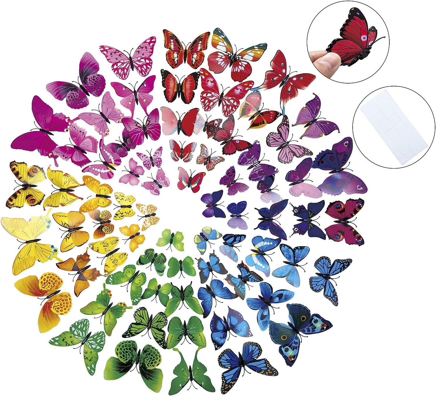 CLOSEUS 84PCS 3D Butterfly Wall Stickers DIY Art Decor Colorful Decals for Nursery Classroom Kids Baby Bedroom Living Room Magnets And Sponge Glue