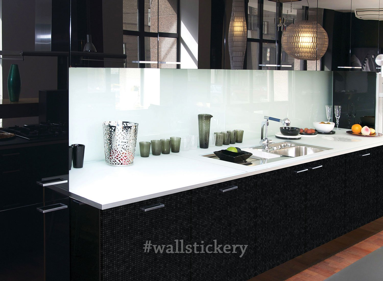 Wallstickery glossy black contact paper prepasted wallpaper for wall ...