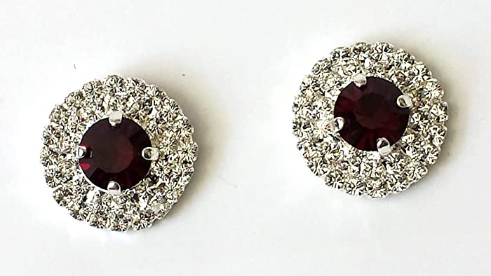 ebd1764ca Amazon.com: Swarovski Garnet Crystal Stud Earrings Silver Rhinestone  Jewelry: Handmade