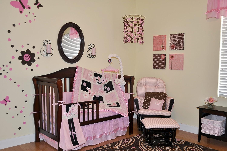 amazon com dk leigh crib bedding nursery set pink brown 9 piece