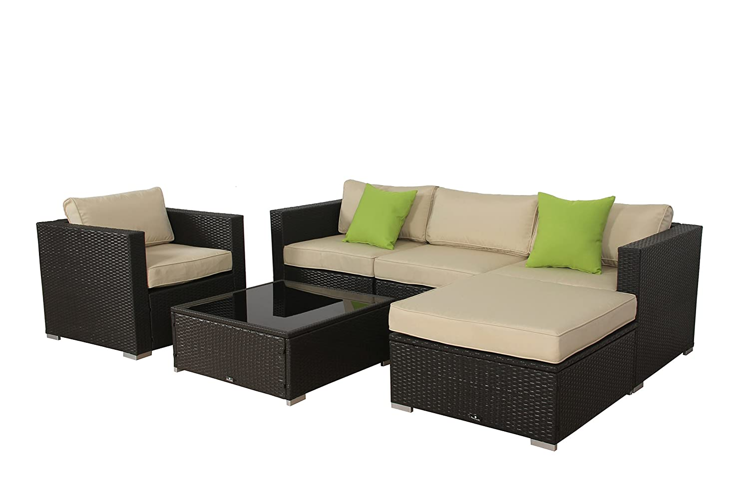 Rattan set  Amazon.com : BroyerK 6 Pcs Beige Outdoor Rattan Set Sofa Wicker ...
