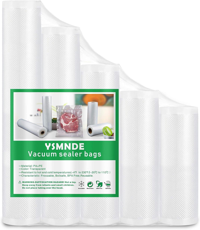 YSMNDE Vacuum Sealer Bags Rolls - 5 Pack (4.8