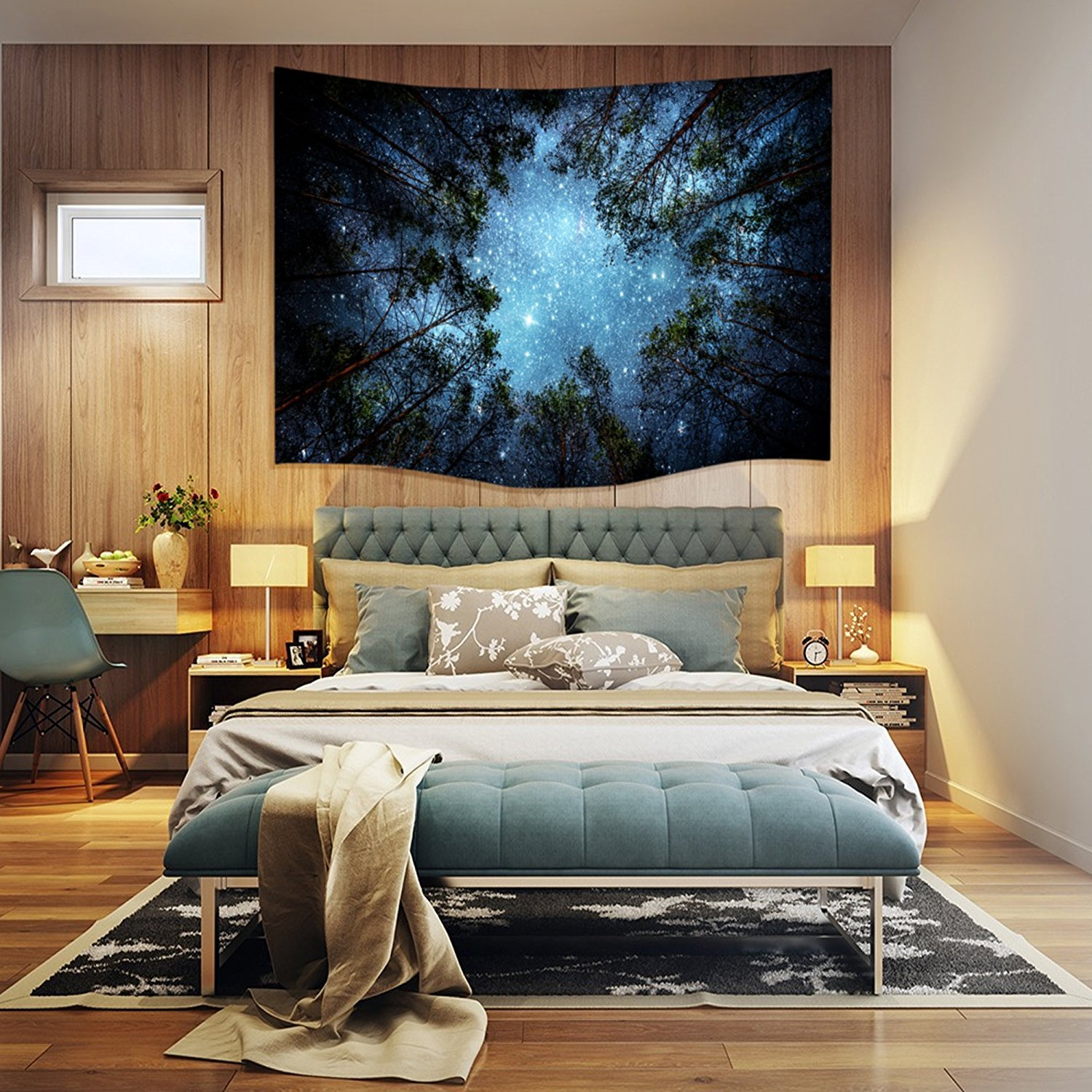 Celestial Galaxy Night Sky Full of Stars Starry Night Wall Tapestry Forest Nature View Hanging Artistic Home Décor (60*40 inch) Tiaronics
