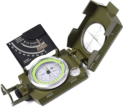 Lensatic Military Compass Hiking - Tritium Compass Military Grade style Camping Backpacking - Tactical Army Green Compass Survival Navigation - Hiking Waterproof Sighting Compass Inclinometer