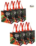 Earthwise Reusable Grocery Bags Shopping - Totes with Chalkboard Veggies Design (Pack of 6)