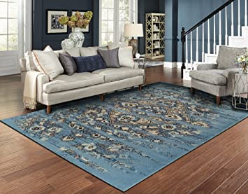 Amazon Com Luxury Distressed Blue Area Rugs For Living Room 5x7
