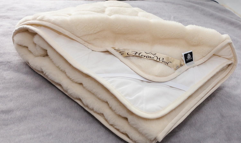 CARO Naturhaar Unterbett 100% Merino Wolle 90x200cm KASCHMIR Schurwolle Matratzenauflage ELEGANCE LIGHT Neuseeland