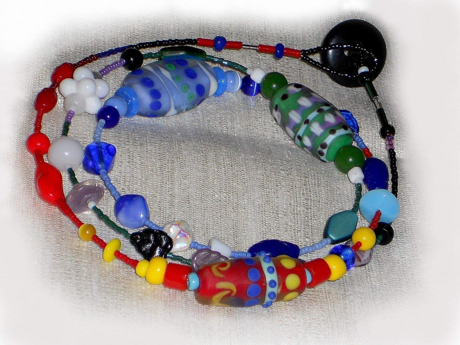 Lampwork Characters Heavy Well Made High Quality Beads Glass Beads Lampwork Multi Color Necklace Large Hole Beaded Necklace Unique