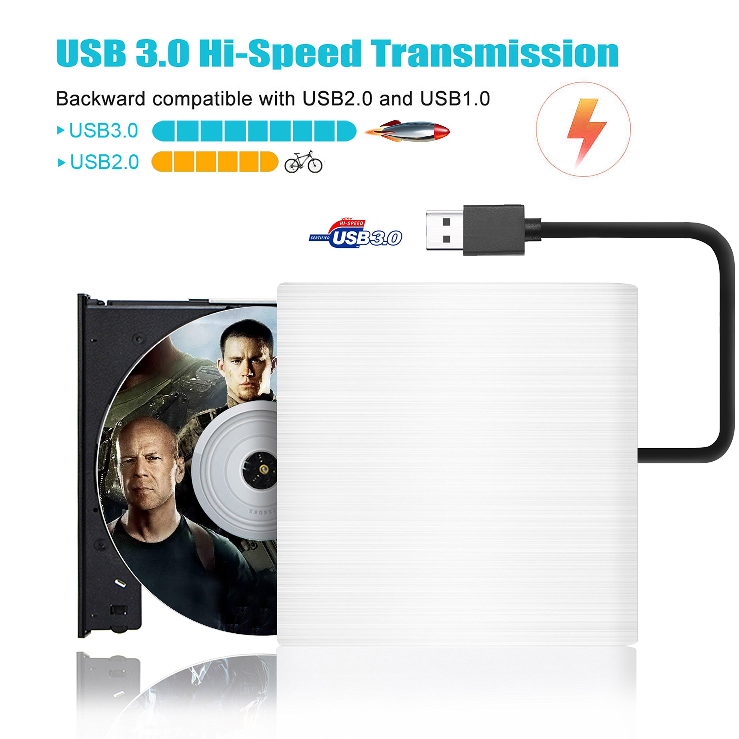 USB 3.0 External CD DVD Drive,2018 Upgraded Version Portable External DVD-RW Superdrive Burner For PC Desktop Laptop/Windows/Linux/Mac OS System by Valoin (Image #2)