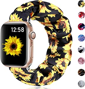 Henva Compatible with Apple Watch SE Band Scrunchies 38mm Series 3/2/1, for Women Girls, Soft Cute Elastic Scrunchy Pattern Printed Wristbands Replacement for iWatch 40mm Series 6, Sunflower, S/M