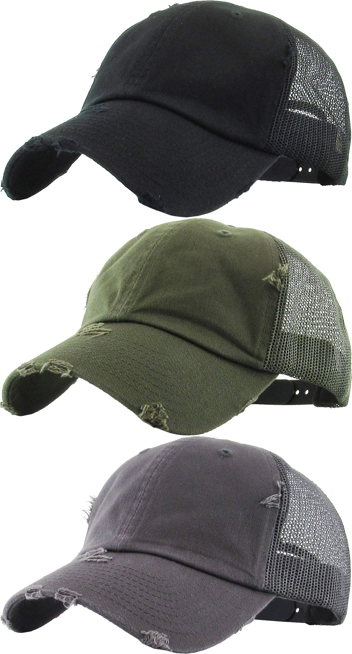 H-6140-3-K063370 Distressed Trucker Hat 3-Pack: Black, Olive, Grey by Funky Junque