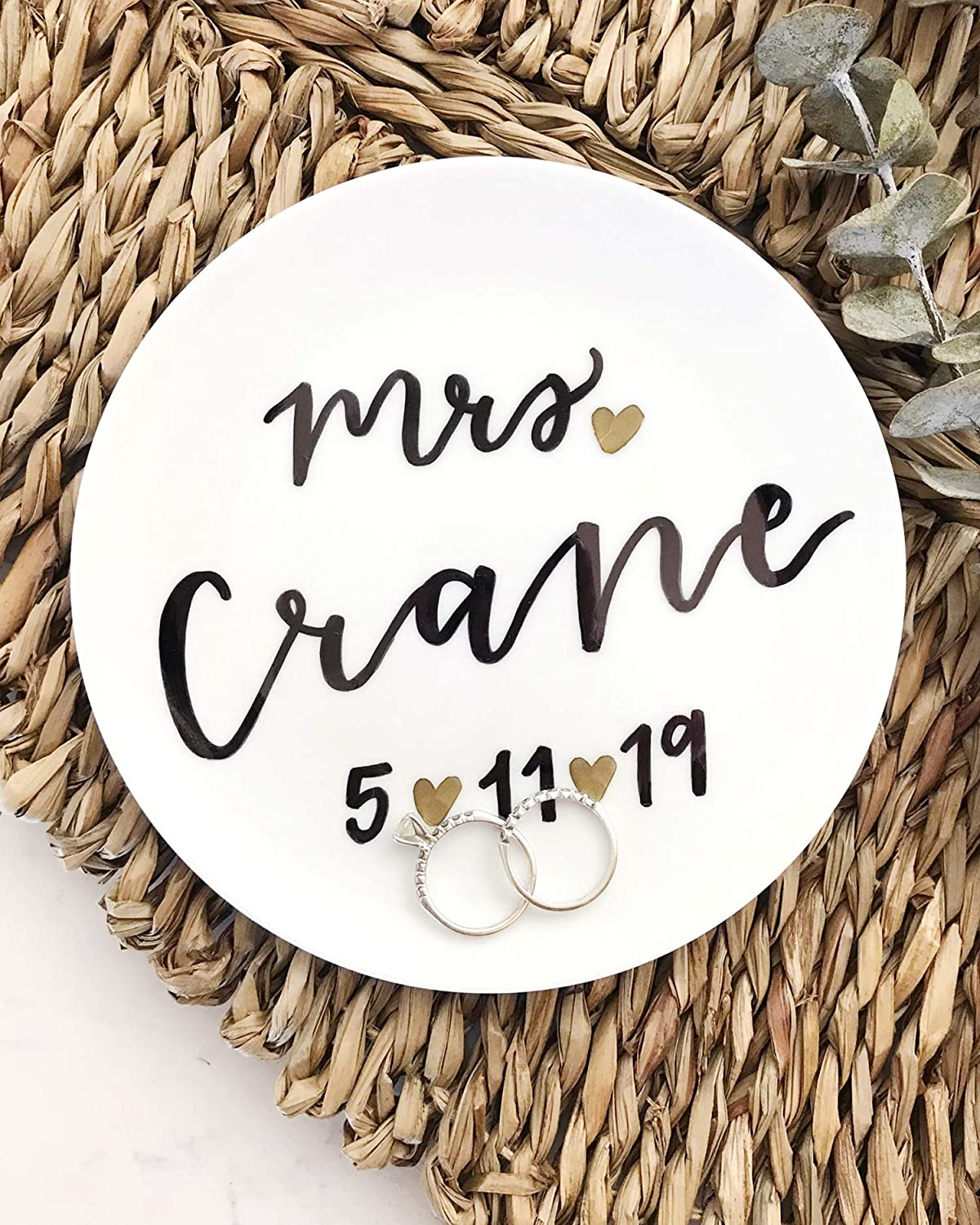 Ring Dish with Last Name Personalized Circle Jewelry Tray Custom Mrs