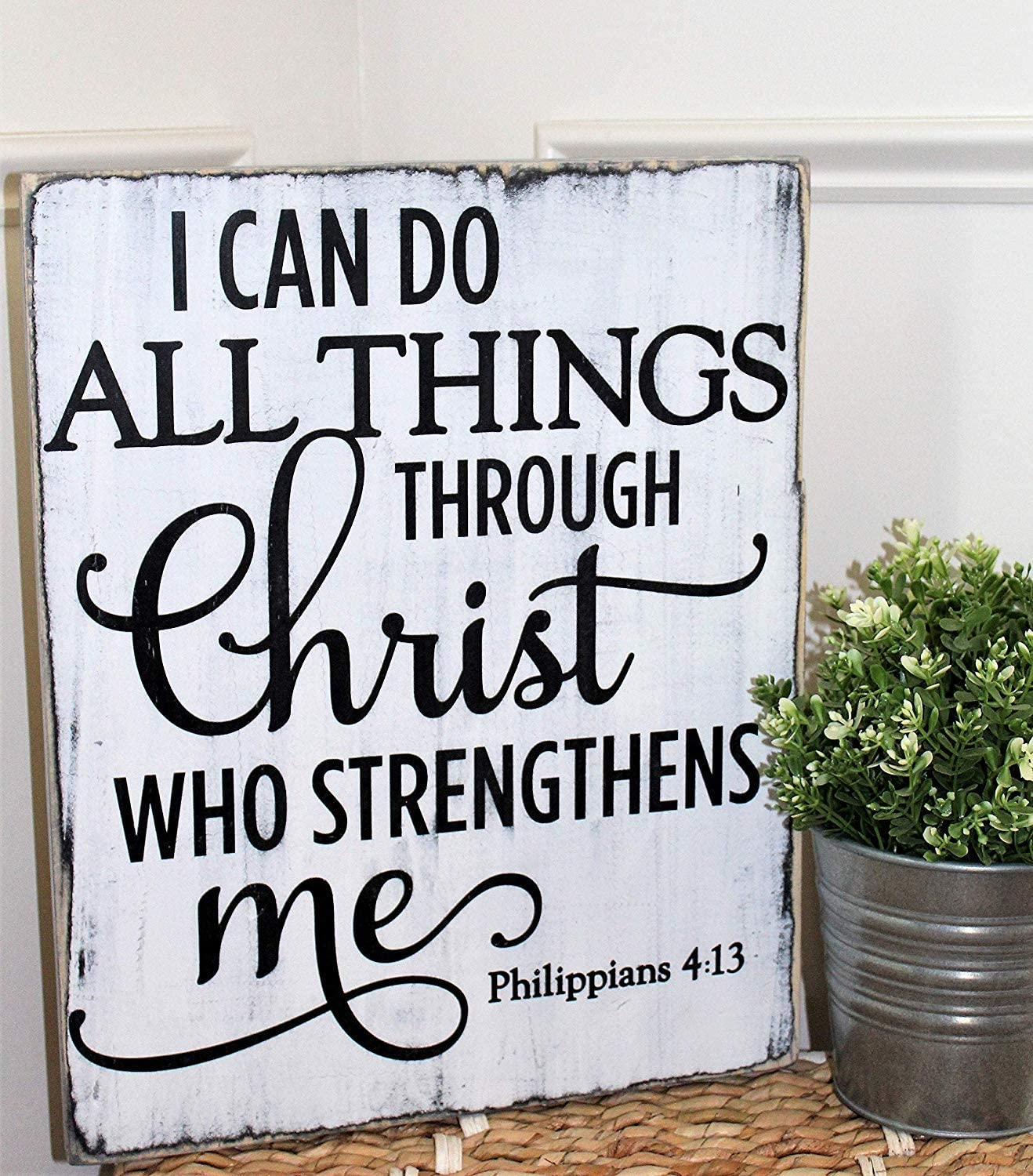 Jerome George I can do All Things Through Christ who Strengthens me, Religious Wood Sign, Rustic Bible Verse Sign, Philippians 4:13