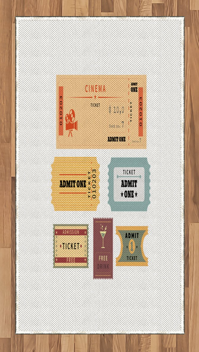 Ambesonne Movie Theater Area Rug, A Set of Retro Cinema and Other Events Tickets for One Vintage Illustration, Flat Woven Accent Rug for Living Room Bedroom Dining Room, 2.6 x 5 FT, Multicolor