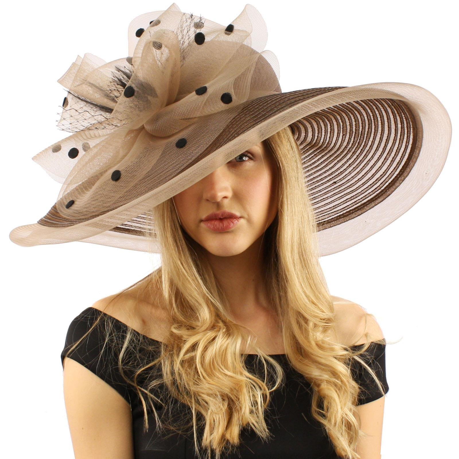 Graceful Simamay Polka Dot Floral Kentucky Derby Floppy 7'' Brim Dress Hat Mocha