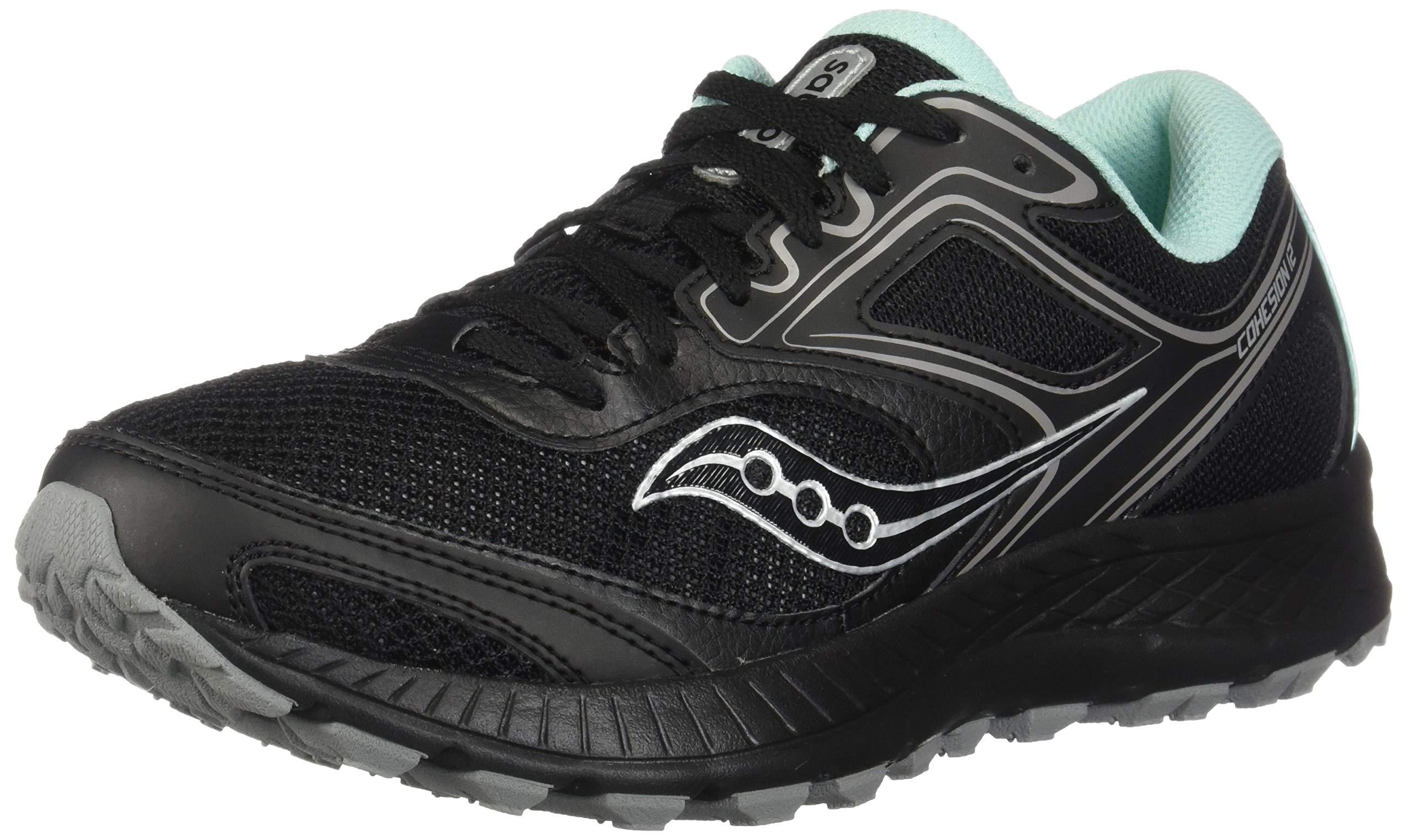 Saucony VERSAFOAM Cohesion TR12 Trail Running Shoe, Black/Teal, 5 Medium Women