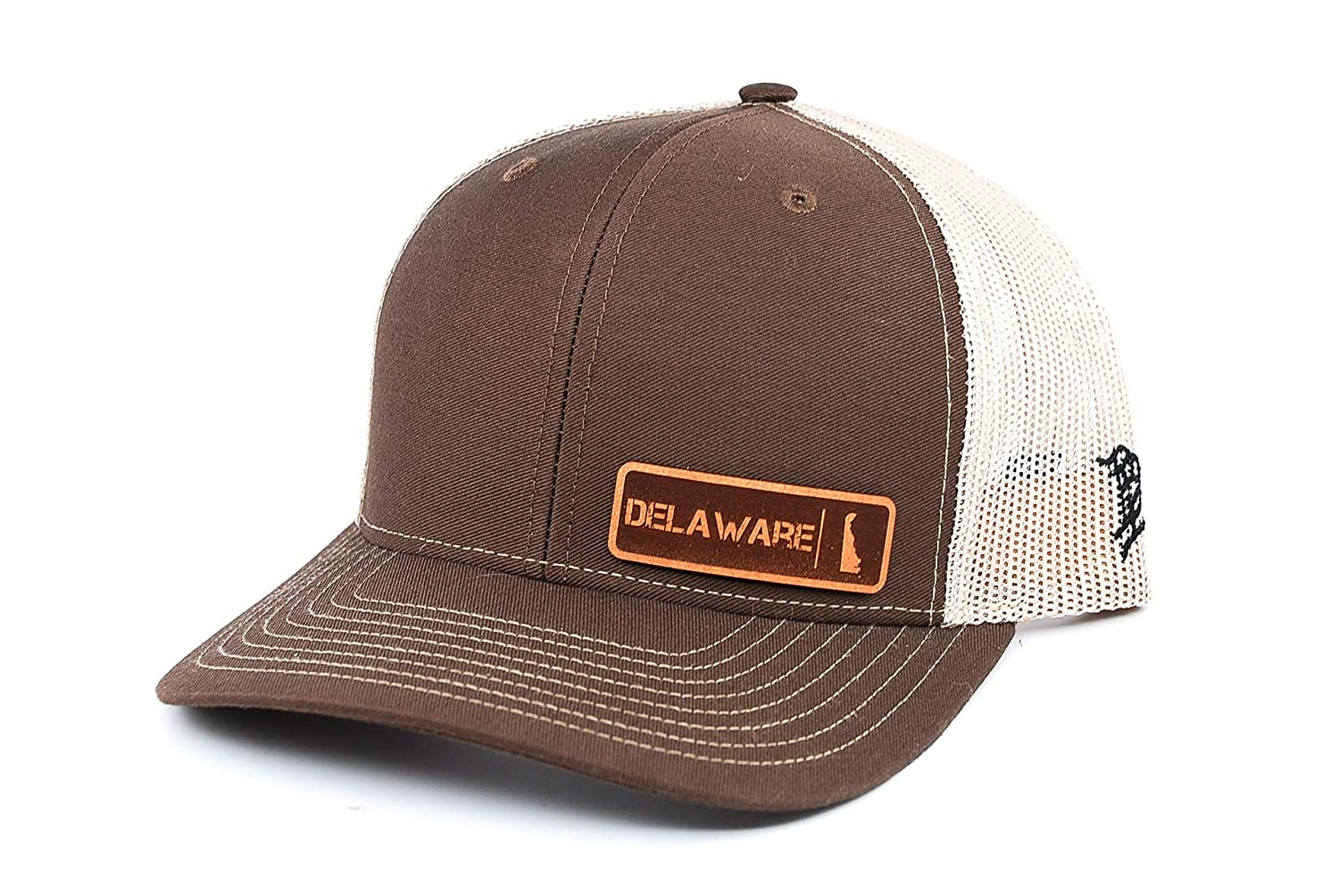 OSFA//Brown//Tan Branded Bills /'Delaware Native Leather Patch Hat Curved Trucker