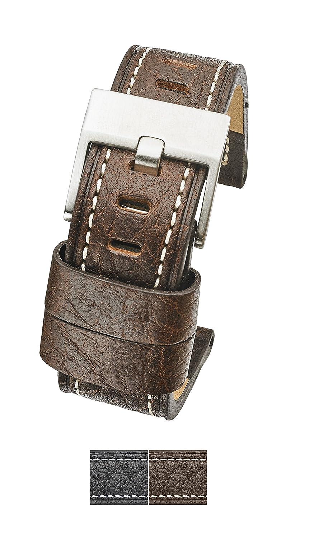 厚いパッド入りステッチ本革時計バンドサイズ22 mm、24 mmの – ブラック&ブラウン& 26 mm 24MM ブラウン 24MM|ブラウン ブラウン 24MM B078VV1QTF