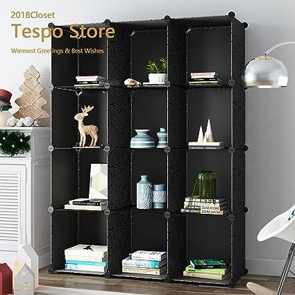 Merveilleux Tespo 12 Cube Modular DIY Storage Cube Organizer 4 Tier Shelving Bookcase  Cabinet Closet Black