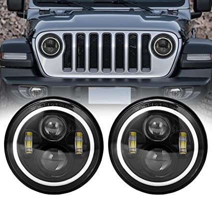 Car Lights For Hummer H1 H2 Led Headlight 60w 7 Inch Led Headlights High Low Beam White Drl Amber Turn Signal For Jeep Wrangler Jk Lamp Automobiles & Motorcycles