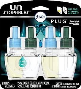 Febreze Air Freshener,Unstoppables Air Freshener,Fresh Pluggable Scented Oil Refills Air Freshener, 2 ct