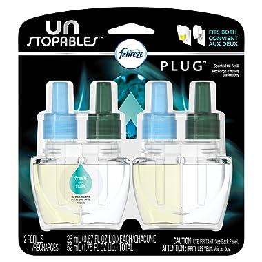 Febreze Air Freshener,  Unstoppables Air Freshener,  Fresh Pluggable Scented Oil Refills Air Freshener, 2 ct