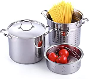 Cooks Standard Classic 4-Piece 12 Quart Pasta Pot Cooker Steamer Multipots, Stainless Steel (Renewed)