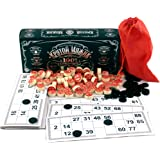 Russian Lotto Bingo Game Set - Souvenirs Board Games for Family - Tambola Kit of Wooden Barrels Loteria Cards Bingo Toys Chips